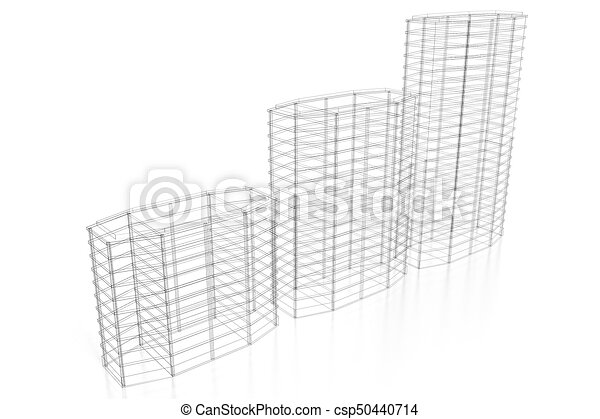 3d Office Buildings Wireframe White Background Great For