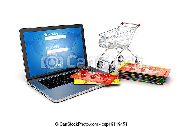 3d online shopping concept - csp19149451