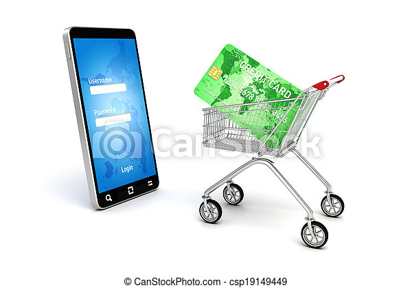 3d online shopping concept - csp19149449