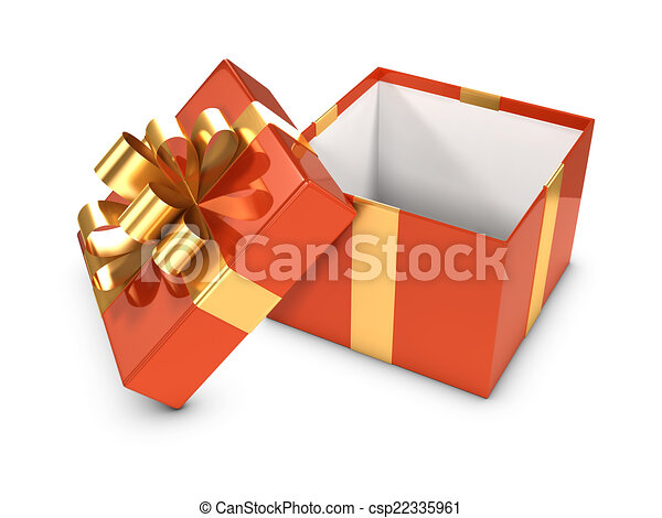3d open gift box with gold ribbon 3d render of an open gift 3d open gift box with gold ribbon csp22335961 negle Gallery