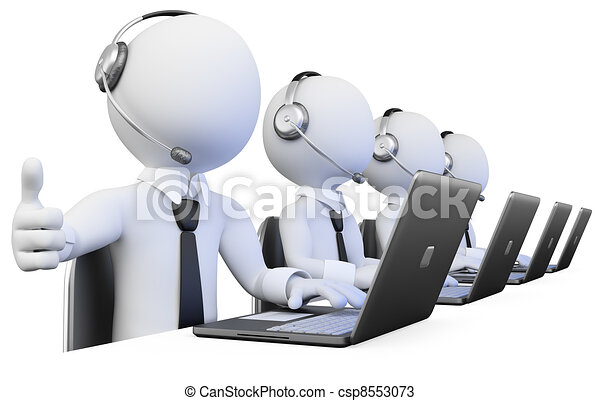 3D Operators working in a call center - csp8553073