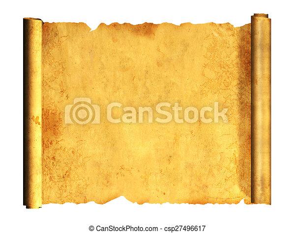 3d, oud, perkament, boekrol - csp27496617