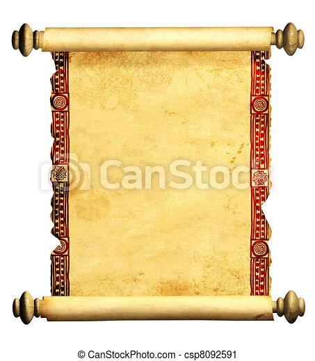 3d, oud, perkament, boekrol - csp8092591