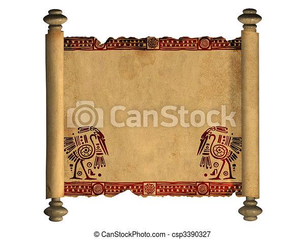 3d, oud, perkament, boekrol - csp3390327