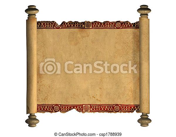 3d, oud, perkament, boekrol - csp1788939