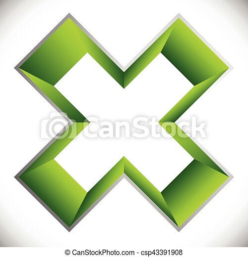 3d outline cross icon – Contour of X shape, X letter with colored inside - csp43391908