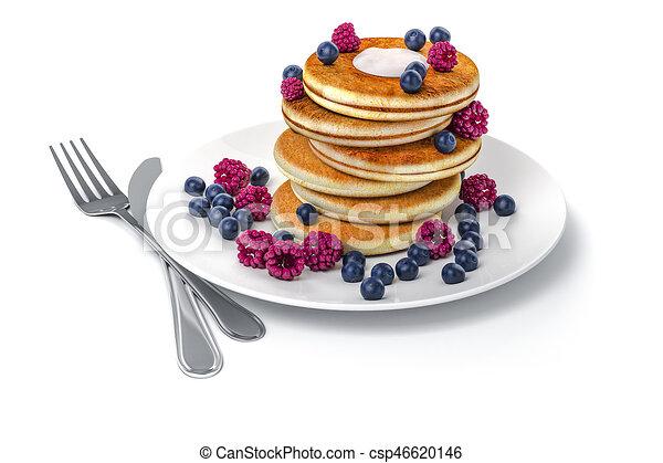 3d pancake on white background - csp46620146