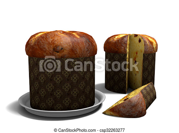 3D Panettone on white background - csp32263277