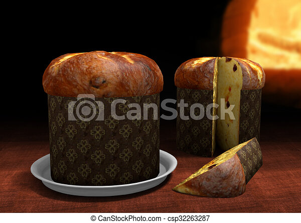 3D Panettone with an oven on the ba - csp32263287
