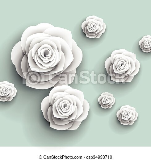 3d paper rose flowers vector abstract background 3d paper rose flowers vector abstract background mightylinksfo