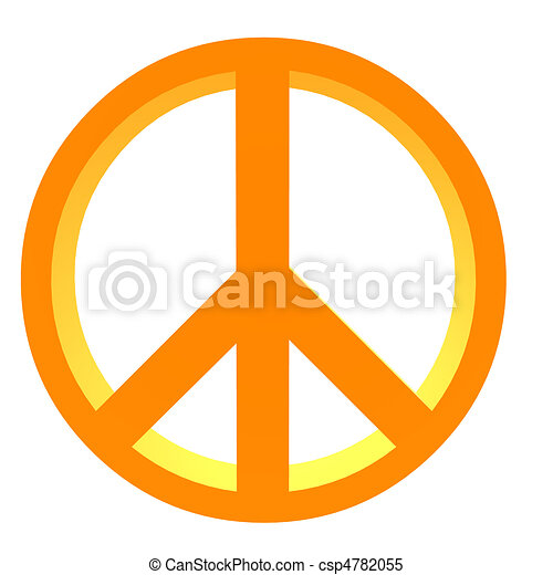 3d peace sign 3d orange peace sign on a white background