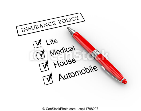 3d pen and insurance policy - csp11798297