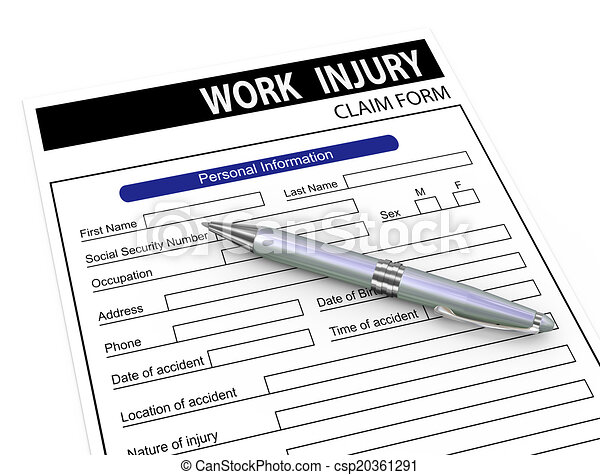 D Pen And Work Injury Claim Form D Illustration Of Pen  Stock