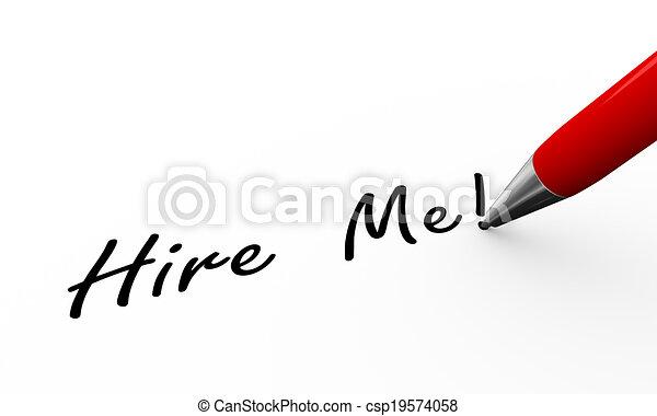 3d pen writing hire me illustration - csp19574058