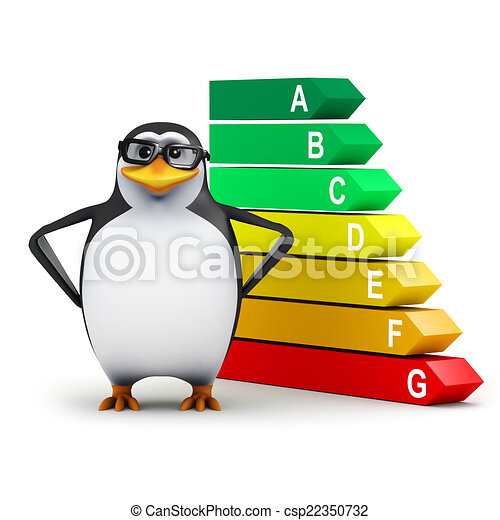 3d Penguin checks his energy usage - csp22350732