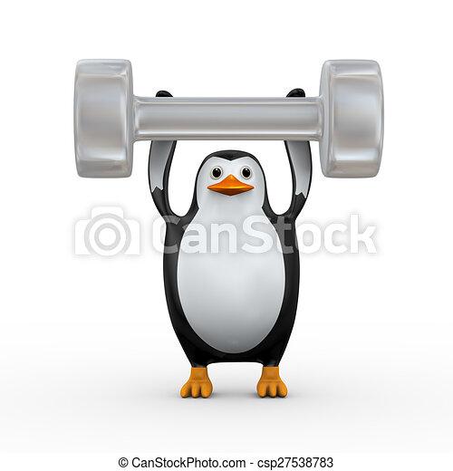 3d penguin holding big dumb bell - csp27538783