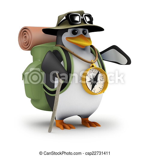 3d penguin is off hiking again 3d render of a penguin clip art of hiking boots hiking clip art png
