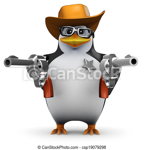 3d Penguin sheriff with two guns - csp19079298