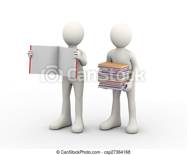 3d people and books - csp27364168