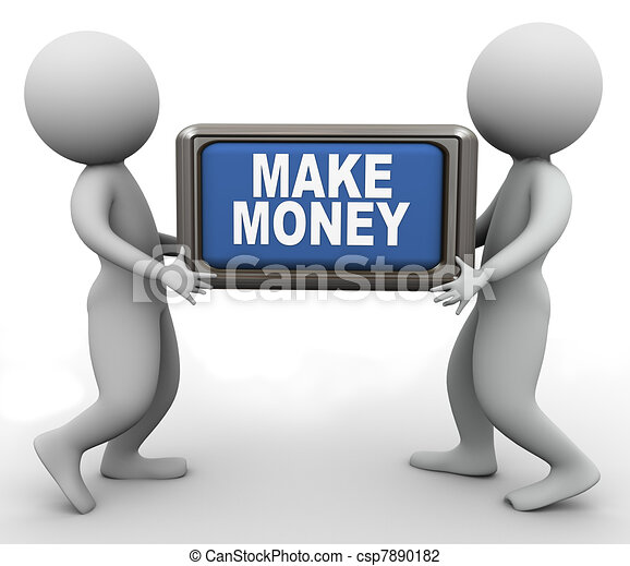 3d people and make money button - csp7890182