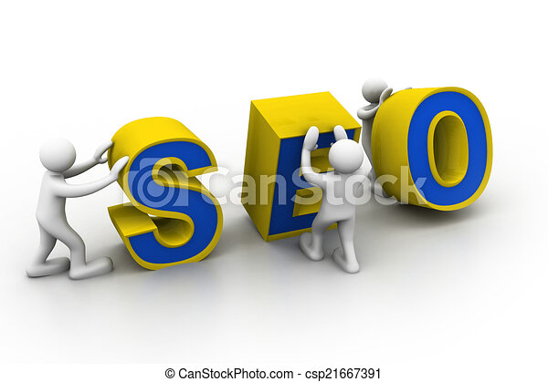 """3d people and word """"seo"""". - csp21667391"""