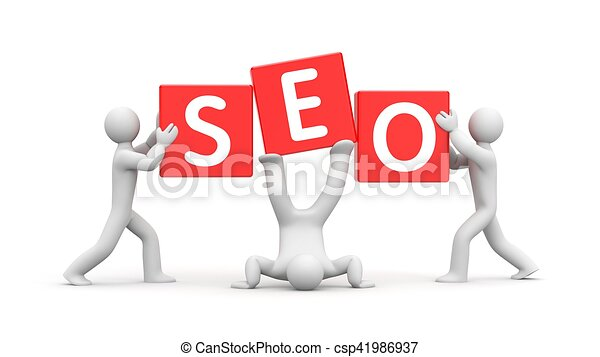 3d people and word SEO. Improvisation on SEO. 3d illustration - csp41986937