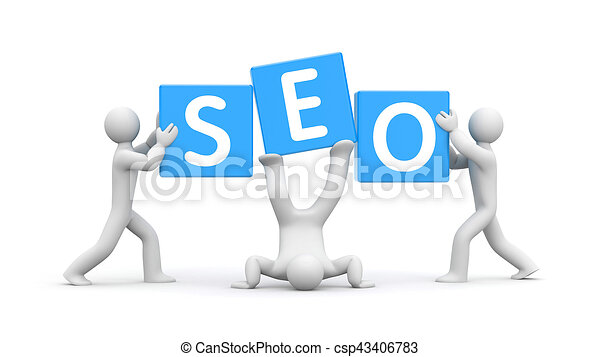 3d people and word SEO. Improvisation on SEO. 3d illustration - csp43406783