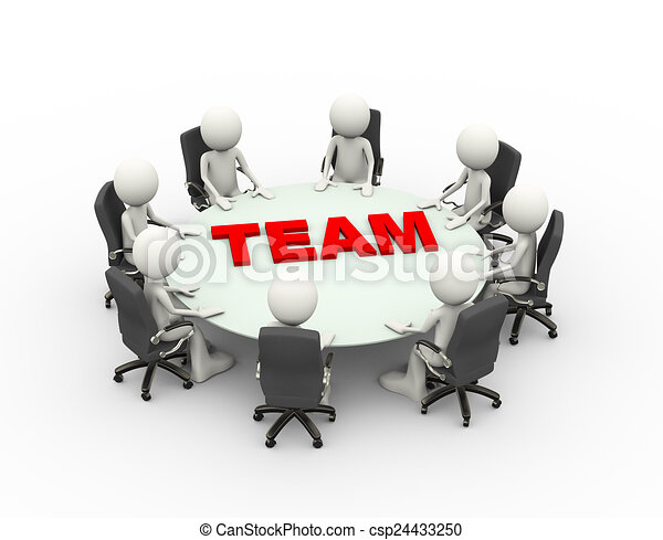 3d people business meeting conference team table - csp24433250