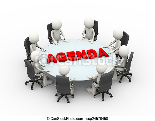 3d people business meeting conference agenda table - csp24578450