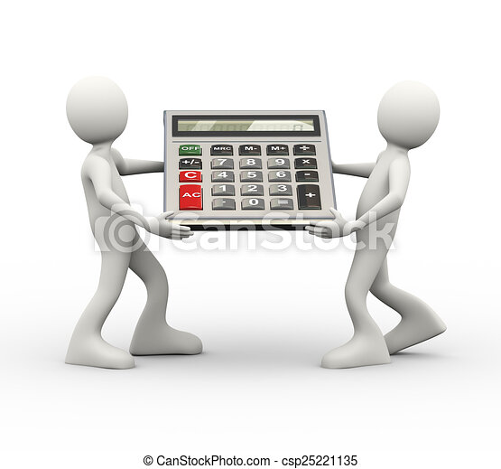 3d people carrying calculator - csp25221135