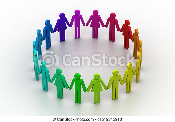 3d people create a circle. Team work concept - csp19312910
