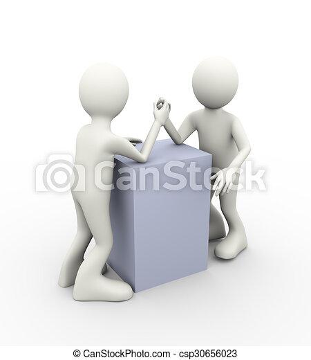 3d people hand wrestling - csp30656023
