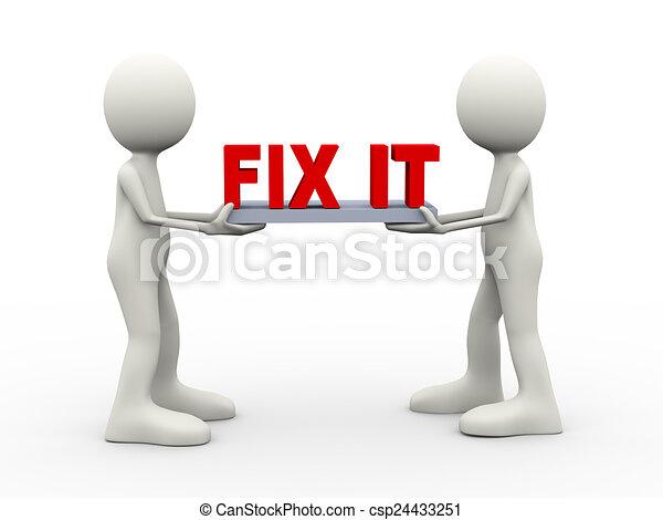 3d people holding fix it - csp24433251