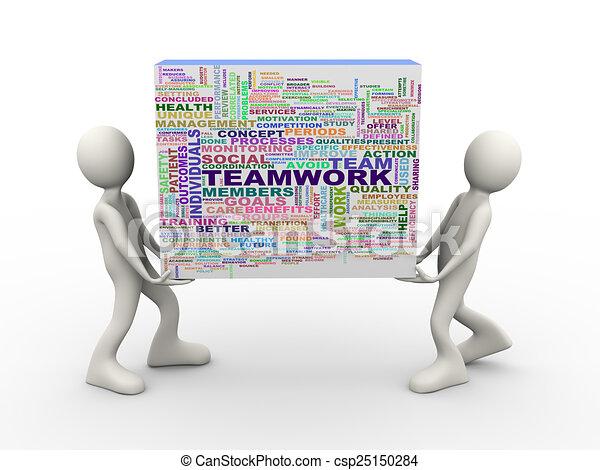 3d people holding teamwork wordcloud word tags - csp25150284