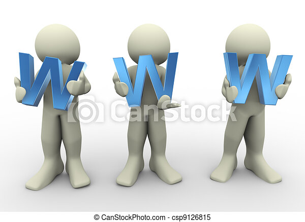 3d people holding www - csp9126815
