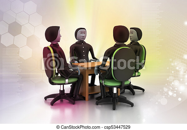 3d people in business meeting - csp53447529