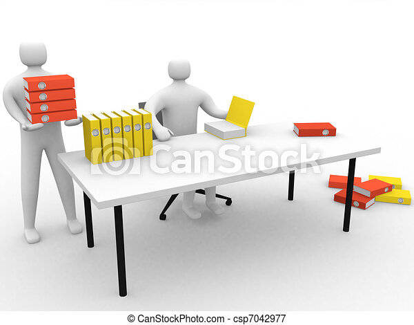 3d people looking with files - csp7042977