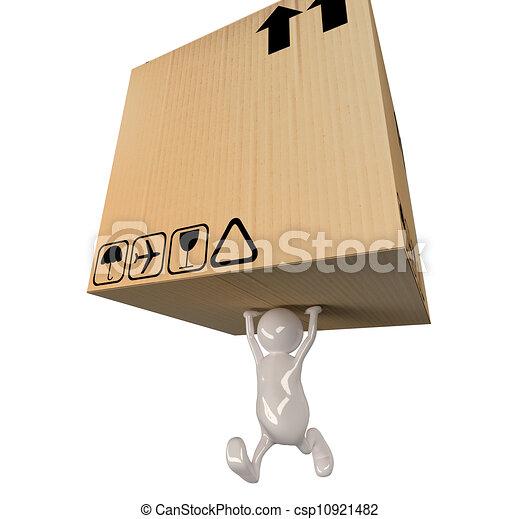 3d people man delivering big cardboard box - csp10921482