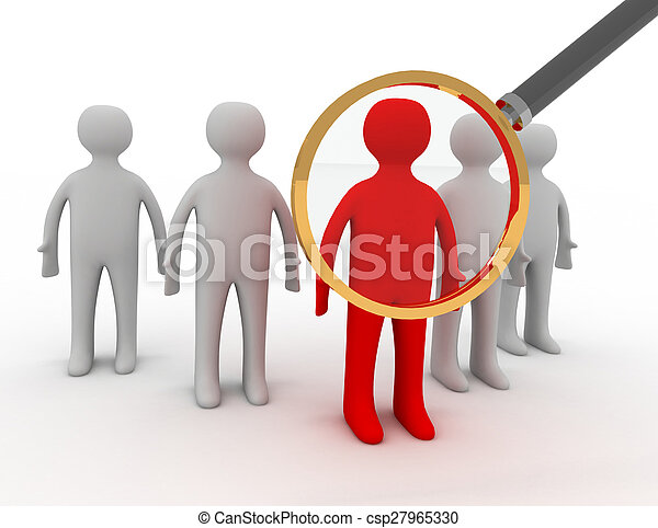 3d people - man, person and a big magnifier. - csp27965330