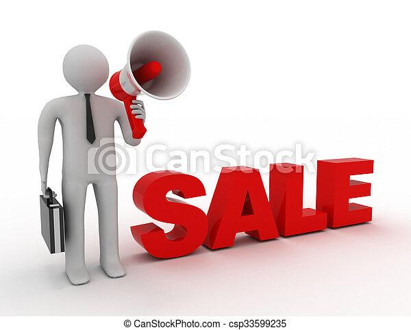 3d people - man, person and a megaphone. Sale concept - csp33599235