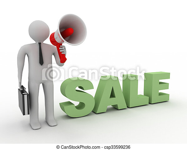 3d people - man, person and a megaphone. Sale concept - csp33599236