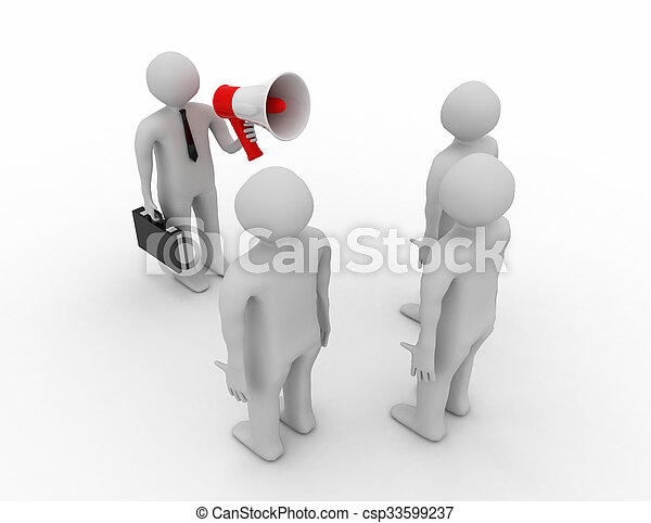 3d people - man, person with a megaphone in front of the crowd. - csp33599237