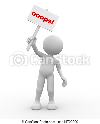 "3d people - man, person with a ""oops"" sign in hands.  - csp14720309"