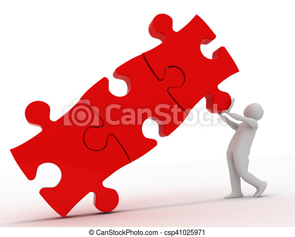 3d people - man, person with pieces of puzzle. success concept - csp41025971