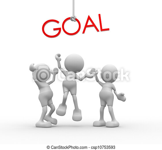 """3d people - men, person with red word """"goal"""" . - csp10753593"""
