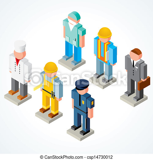 3D People Occupations Icons - csp14730012
