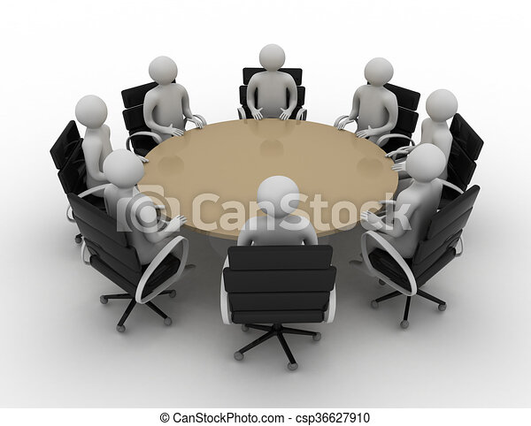 3d people session behind a round table 3d image isolated for Tisch graphic design