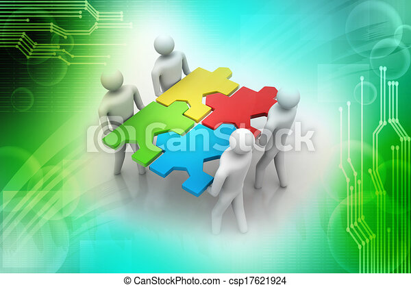 3d people - team with the puzzles i - csp17621924