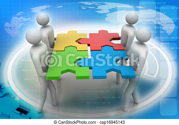3d people - team with the puzzles i - csp16945143