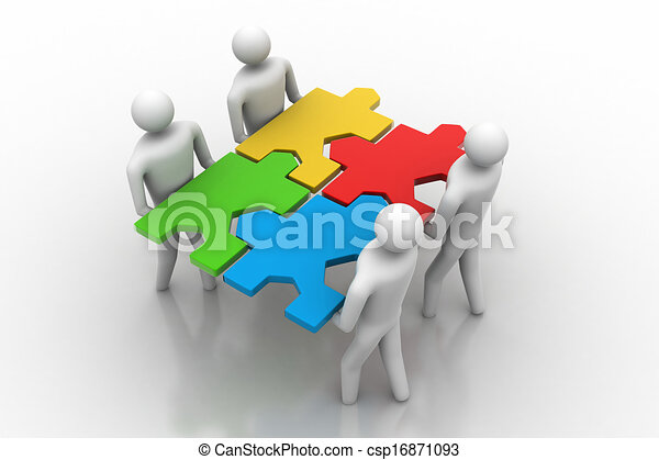 3d people - team with the puzzles i - csp16871093